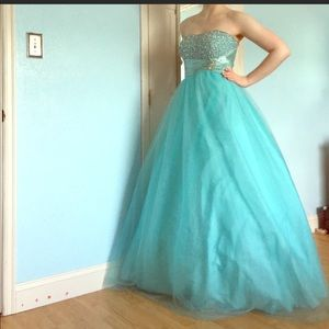 Beaded Strapless Blue Ballgown Prom Dress